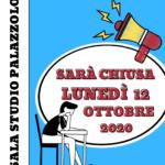 Sala Studio chiusa lunedì 12 ottobre