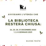 Giorni di chiusura per festività natalizie della biblioteca